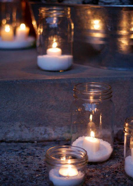 """Epsom salt """"snow"""" lanterns"""