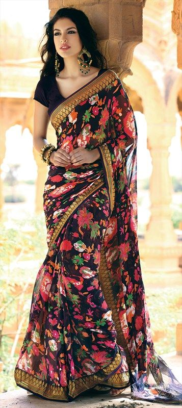 Floral on Black #Saree. violetstreet.com