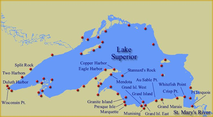 Wow! Map of Lake Superior Lighthouses