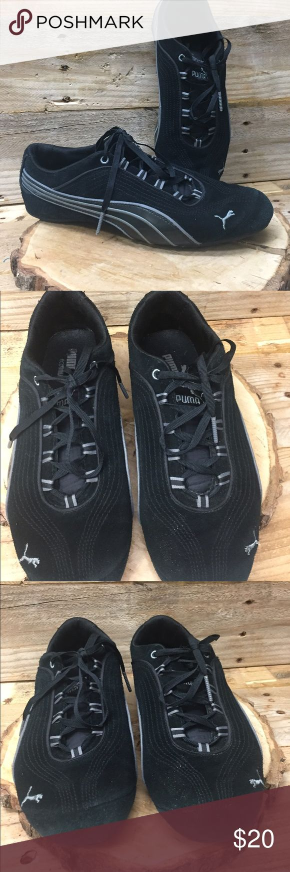 Women's Black Puma Suede Athletic Shoes size 10 Fashionable black suede and leather Pima athletic shoes. Preowned and in good clean condition. Check out my closet to save on bundles . Reasonable offers accepted. Puma Shoes Sneakers