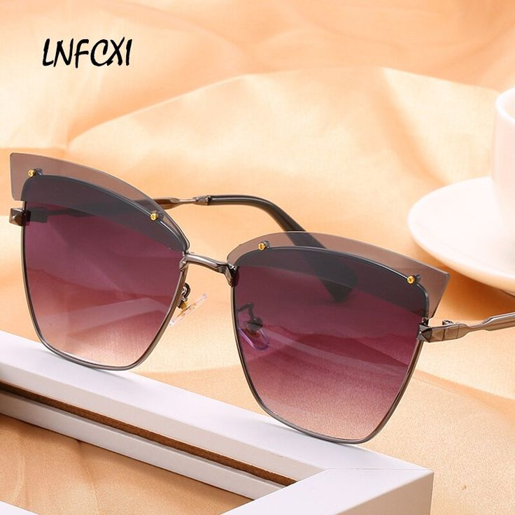 LNFCXI New Cat Eye Sunglasses women Eyebrows Desig…