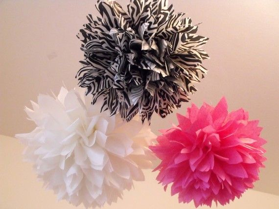 Hot pink and zebra baby shower ... 15 pom poms diy by pomtree