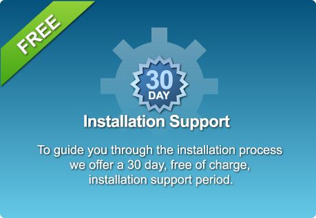 Post installation support is limited to our online support forms, online manuals, API documentation, collection of code samples and tutorials.