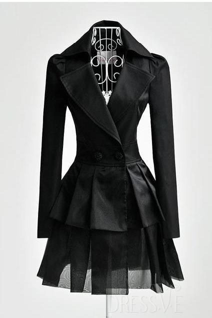 Shop High Quality Black Organza Slim Overcoat At Dressve.Com, And The Price Is Low Only At US$69.99