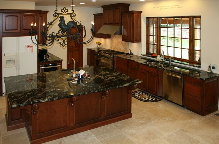 Country kitchen dark cherry cabinets and black counter for Black country kitchen cabinets
