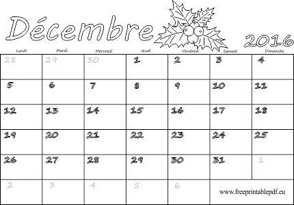 décembre 2016 calendrier à imprimer pour les enfants