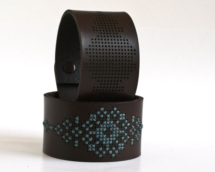 DIY Kit - Cross Stitched Leather Cuff, Dark Brown Leather with Abstract Flower Design from Red Gate Stitchery on Etsy.
