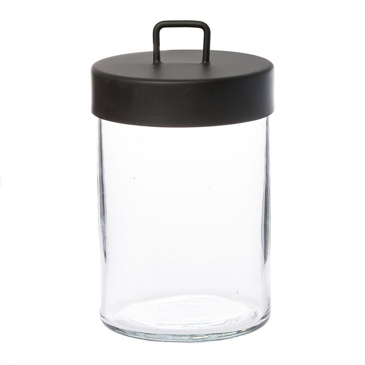 Zakkia canister large // Handmade glass storage with powder coated black metal lid. Great for bathroom or kitchen storage.    Also comes in Medium and Small sizes to create a set.