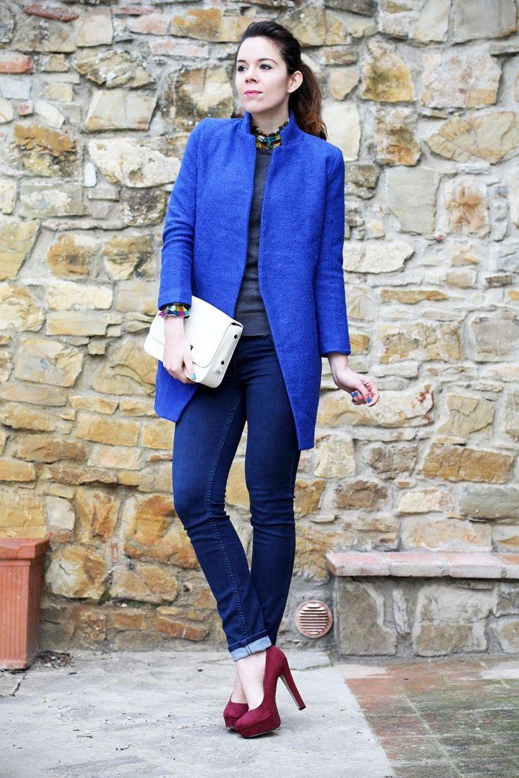 Blue coat and burgundy heels    www.ireneccloset.com