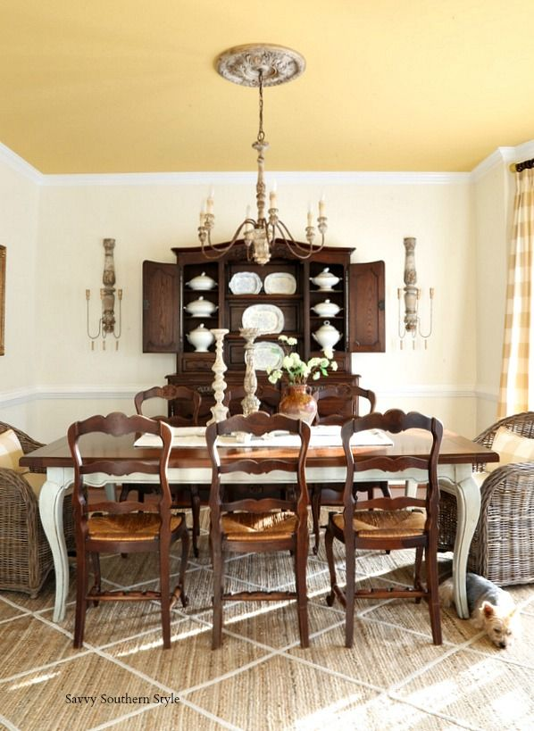 Antique French Dining Chairs With Rush Seats Move From Breakfast Room To