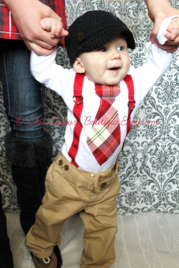 Baby Boy Tie and Suspenders Bodysuit Christmas Outfit. Cranberry Red, Olive Green, Tan Birthday Outfit Cake Smash Winter Wedding Ring Bearer...