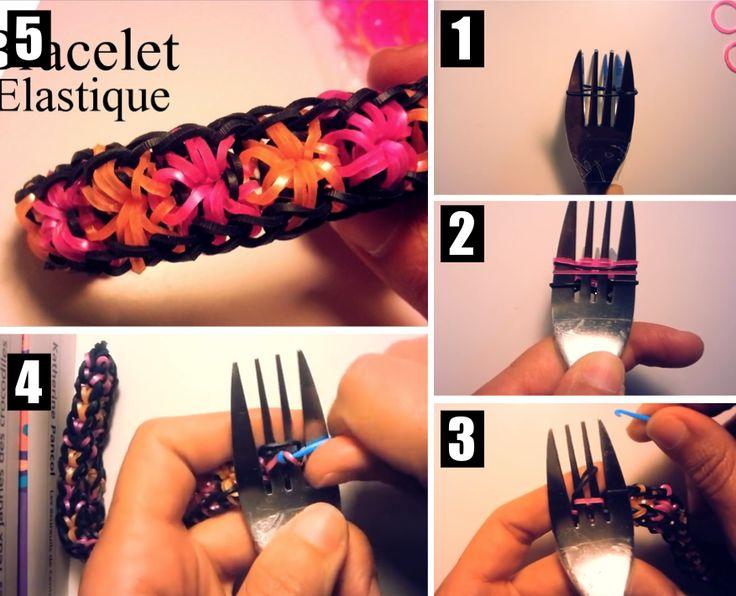 Comment faire un bracelet en elastique avec fourchette