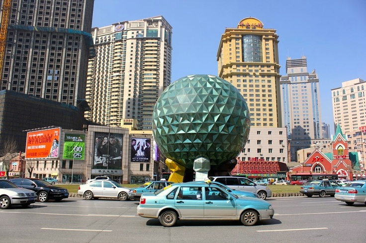 April 2, 2013.  Youhao Square in Dalian China is a downtown spot near the shopping and central hotel district. www.traveladept.com