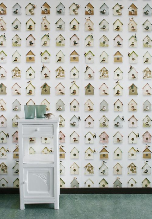 Birdhouse Wallpaper from Studio Ditte, available at Le Souk (repinning this large resolution version!)
