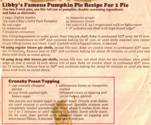 Libby's Famous Pumpkin Pie Recipe For 1 Pie