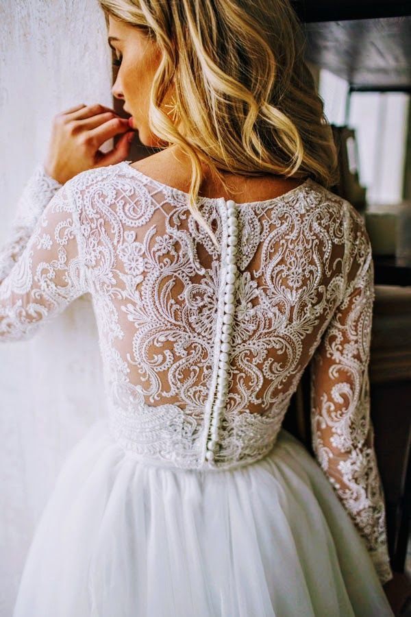 Tulle long sleeve dress LORELEI, bridal separates top and skirt with horsehair trim
