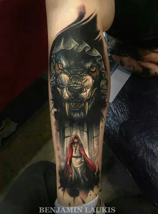 little red riding hood tattoo with big bad wolf black grey art tattoos pinterest wolves. Black Bedroom Furniture Sets. Home Design Ideas