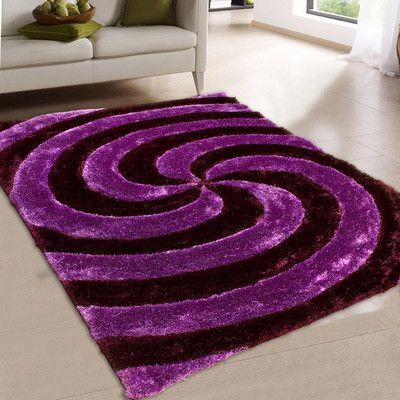 "AllStar Rugs Hand-Tufted Purple Area Rug Rug Size: 7'6"" x 10'5"""