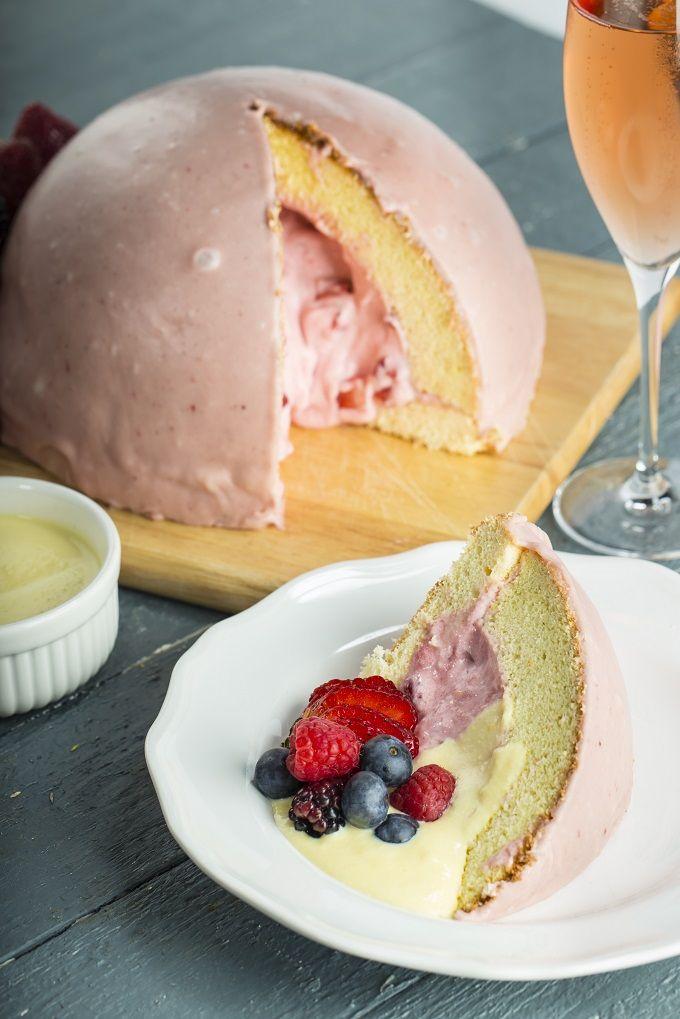 Strawberry Zuccotto with Vanilla Crème Anglais