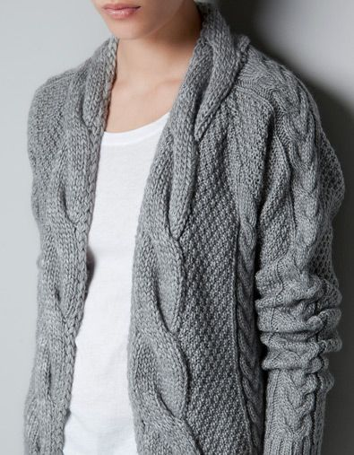 CABLE KNIT CARDIGAN: Cozy Cardigans, Cardigans Cozy, Dresses Sweaters Cardigans, Zara Cable, Knits Cardigans Lov, Cable Edge, Wanna Snuggles, Grey Cardigans, Cable Knits