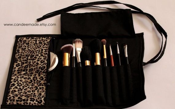 Lovely Leopard print Brush Roll With Zippered Pocket.