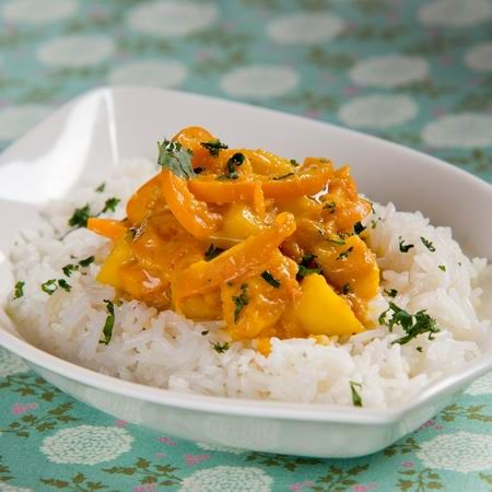 Sütőtök-curry kardamomos jázminrizzsel