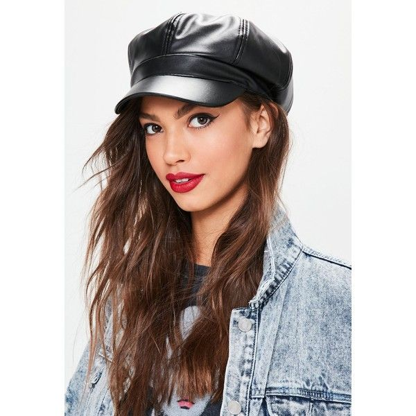 Black Faux Leather Nautical Hat ($19) ❤ liked on Polyvore featuring accessories, hats, faux leather hat and nautical hat