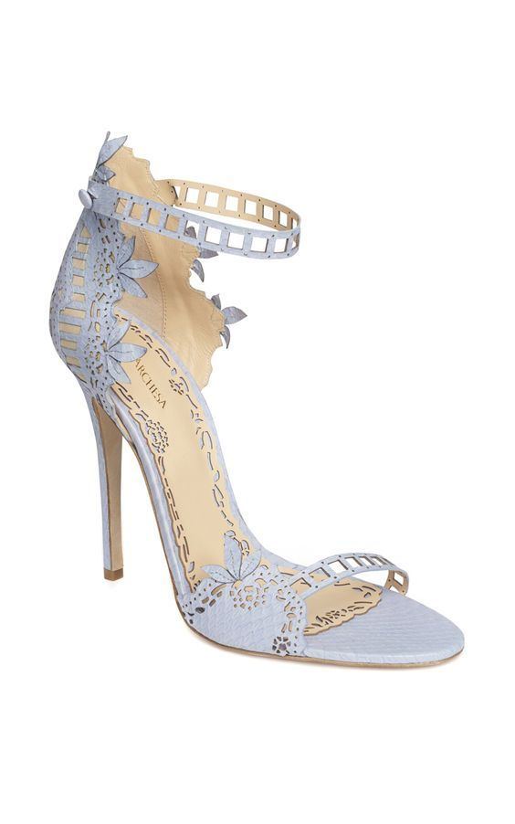Dusty Blue MARCHESA Heels // Follow us on Instagram @thebohemianwedding #bohowedding #wedding #shoes