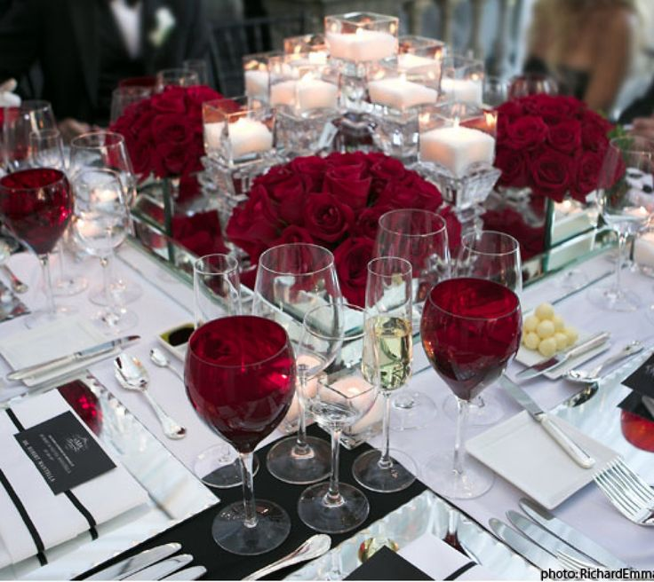 A Sophisticated And Formal Table Setting Deep Red White And Black Take A Look At The Red Wine