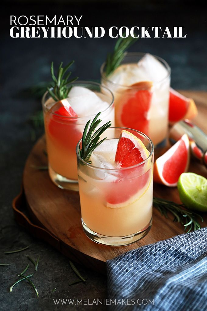 This Rosemary Greyhound Cocktail is destined to become a new favorite. Grapefruit vodka, grapefruit juice, lime juice and rosemary simple syrup are shaken together, poured over ice and then garnished with fresh rosemary and grapefruit to create this bright and flavorful drink. #summercocktails