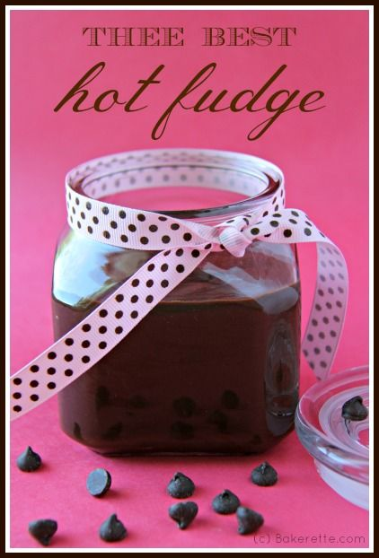 This is thee best homemade hot fudge sauce! A deliciously decadent,  smooth and chocolaty topping for your ice cream sundae. Bakerette.com