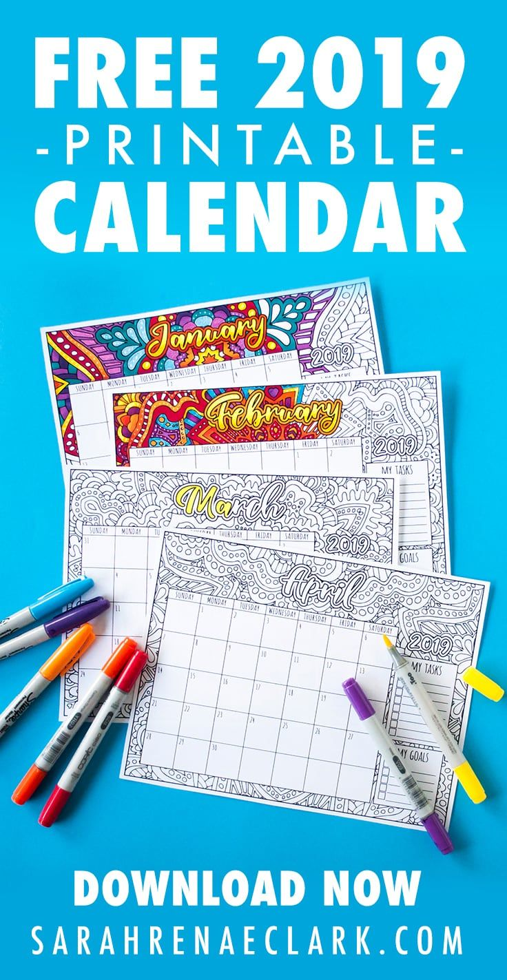 combine creativity with productivity with this printable 2019 coloring calendar 12 months of coloring designs with space included to write your goals and