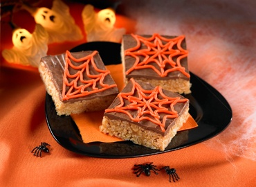 Chocolate Peanut Butter Crispy Cobweb Bars