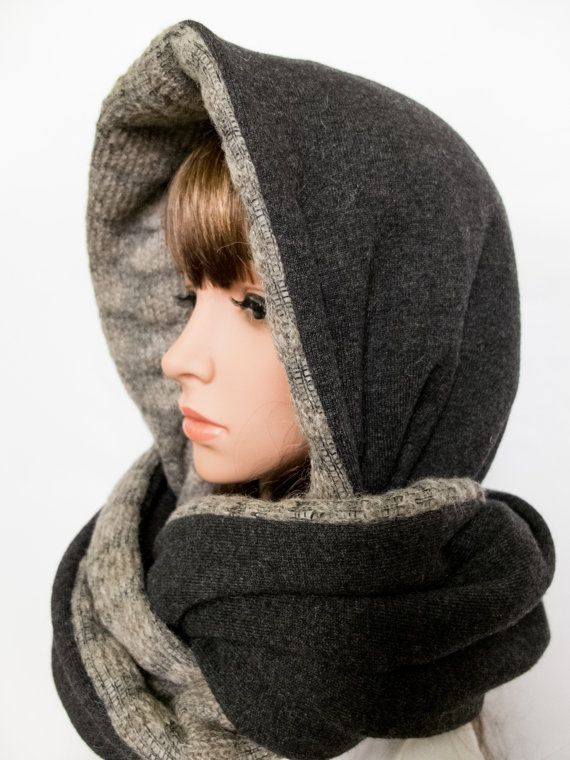 Wool hood beige grey women hooded scarf chunky winter by Jousilook