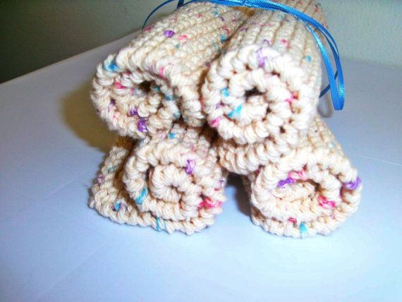 Hand crafted knit dish cloth Set of 4--Beige flecked with blue, pink, purple #bestofEtsy #etsyretwt