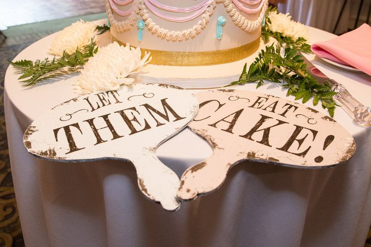 Let them eat cake props by pink and blue wedding cake Jenica+Josh Photo By Sherry Sutton Photography