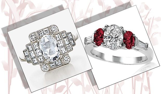 Oval Cut Engagement Rings with art deco style and rubies as side stones