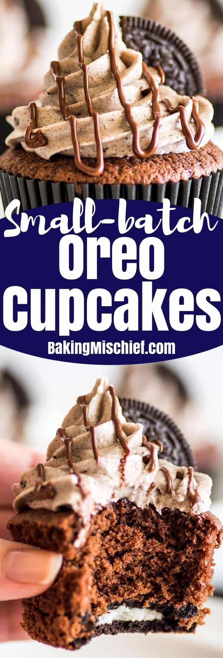 Small-batch Oreo Cupcakes, moist chocolate cupcakes with an Oreo baked right into them and the best Oreo frosting on top! | #cupcakes | #Oreos | Small-batch Desserts |