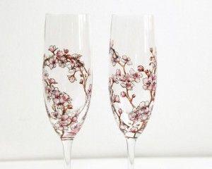 Artwares by Yevgenia cherry blossom flutes, from www.Fair52.com