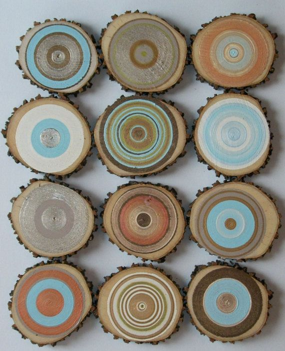 12 Custom Modern Tree Circles You choose the Color Palett for your set Beautiful Rustic Wall Decor