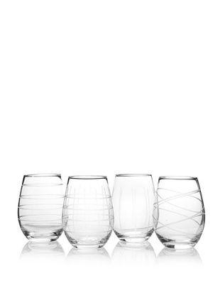 51% OFF Fifth Avenue Set of 4 Crystal Medallion 17-Oz. Stemless Wine Goblets