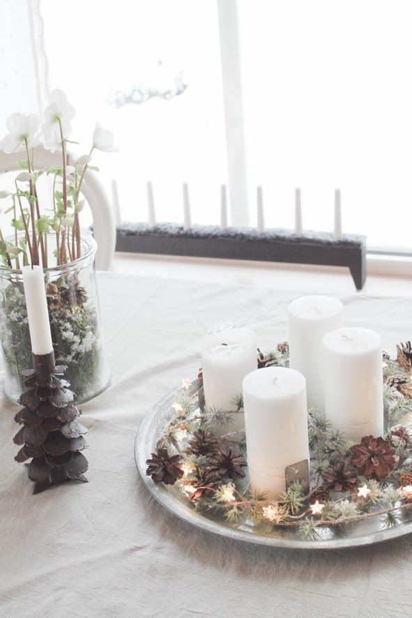 this is such a beautiful center piece or advent wreath for the dining table...