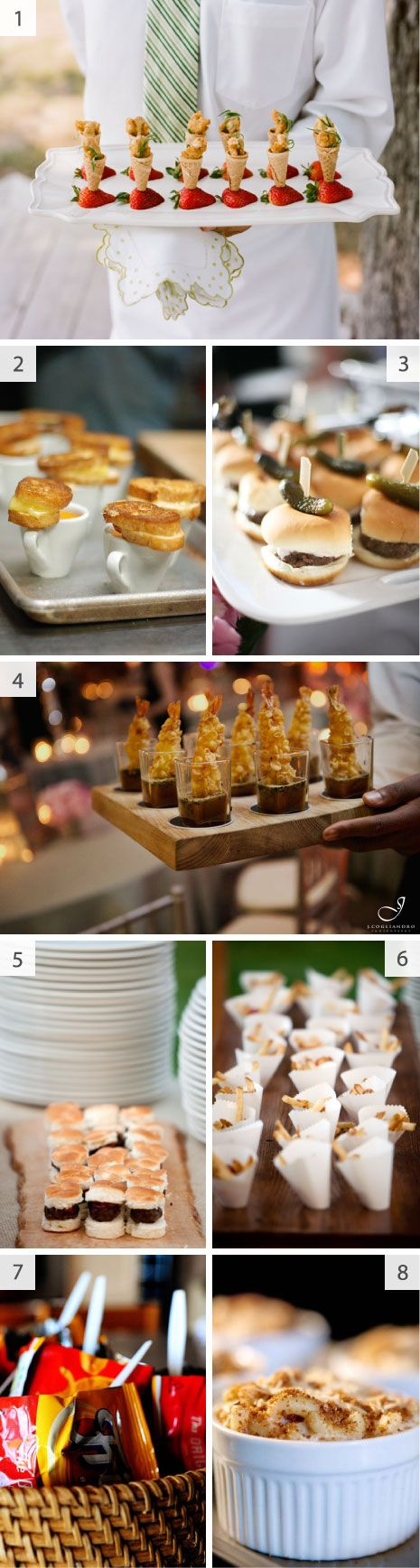 I'm loving the mini food idea! But maybe for a wedding shower luncheon instead of a wedding reception? It's a long way off anyways :p