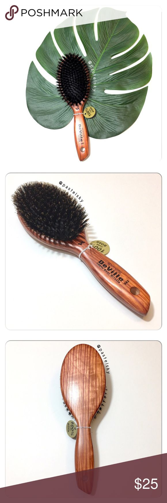 🆕 Spornett DeVille 100% boar bristle hair brush NEW, never used and in excellent condition.   Boar bristles help to distribute natural oils through the hair. Great for scalp and hair conditioning.  details ・style #342 ・100% boar bristles   due to lighting- color of actual item may vary slightly from photos.  please don't hesitate to ask questions. happy POSHing 😊  💰 use offer feature to negotiate price 🚫 i do not trade or take any transactions off poshmark Spornett DeVille Accessories…