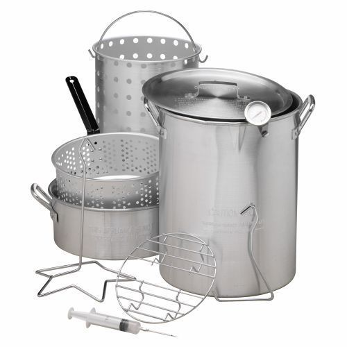 30 QT Deep Turkey Fryer Pot Kit Wings Fish Baskets Outdoor Propane Stockpot NEW #Doesnotapply