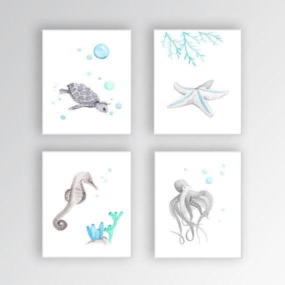 Bajo el mar vivero arte lienzos criatura acuarela Marina Sea