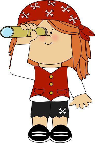 Pirate girl with telescope.