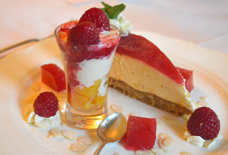 Peach Melba Trio, just before I ate it at Milebrook House Hotel & Restaurant, Knighton, Powys