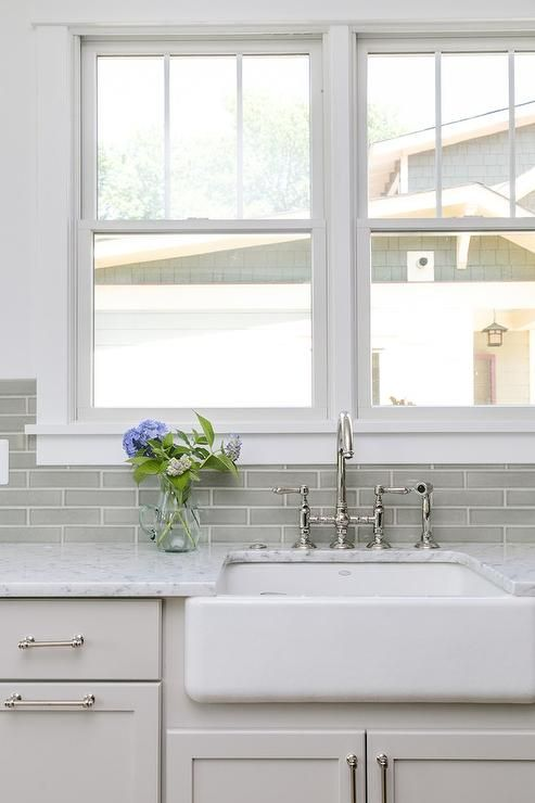 appealing light green shaker kitchen | Light gray shaker cabinets in a transitional kitchen ...