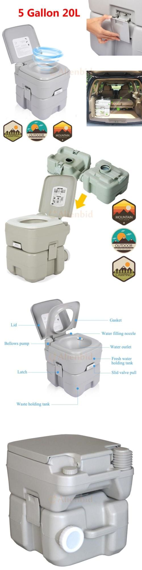 Portable Toilets and Accessories 181397: Portable Outdoor Hiking Camping Travel 20L 5 Gallon Toilet Flush Porta Wc BUY IT NOW ONLY: $49.99